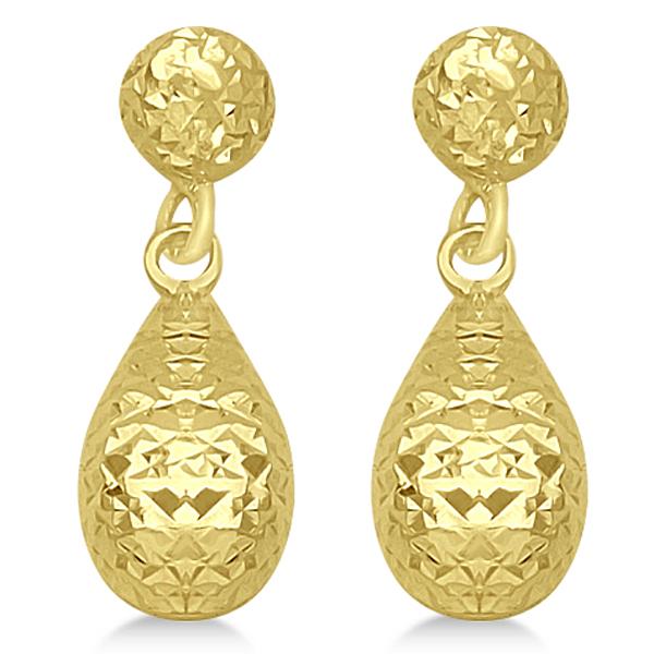Textured Dangle Teardrop Earrings in 14k Yellow Gold