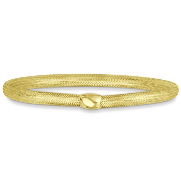 Stackable Mesh Expandable Fashion Bangle Bracelet 14k Yellow Gold