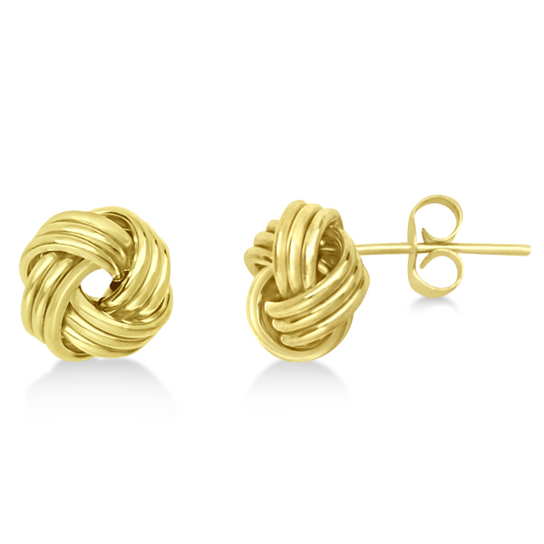 Triple Row Love Knot Stud Earrings in 14k Yellow Gold