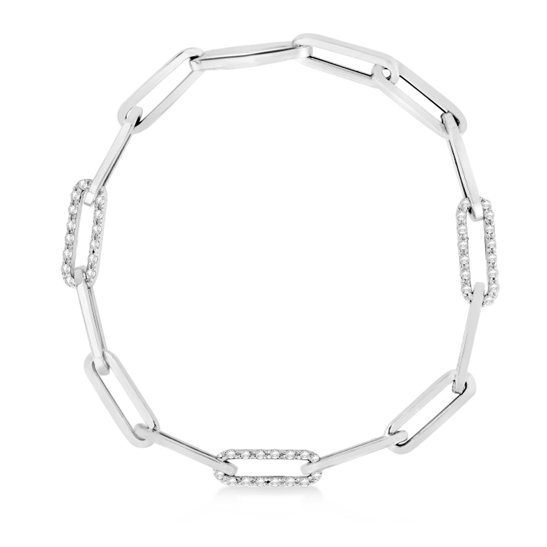 Diamond Paperclip Chain Bracelet 14k White Gold (0.96ct)