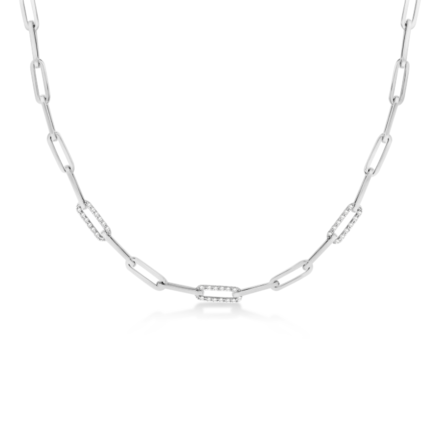 Diamond Paperclip Chain Necklace 14k White Gold (0.96ct)