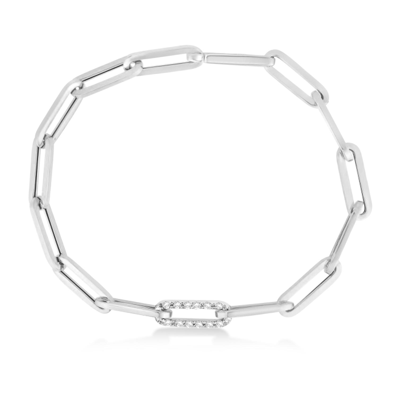 Diamond Paperclip Chain Bracelet 14k White Gold (0.32ct)