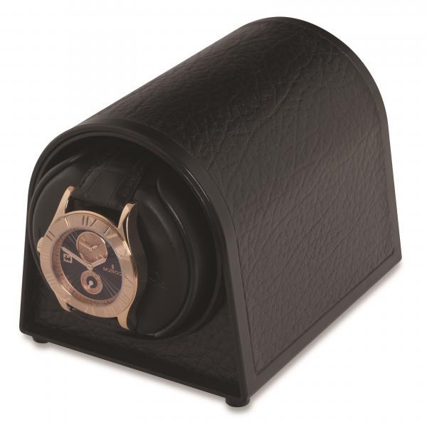 Orbita Dome Shaped Single Watch Winder in Black Faux Leather