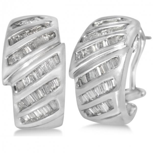 Diamond Accented Baguette Huggie Earrings in 14k White Gold (1.25ct)