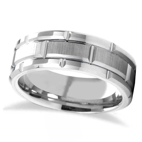 Brushed Center and Alternating Grooves Tungsten Wedding Band (8mm)