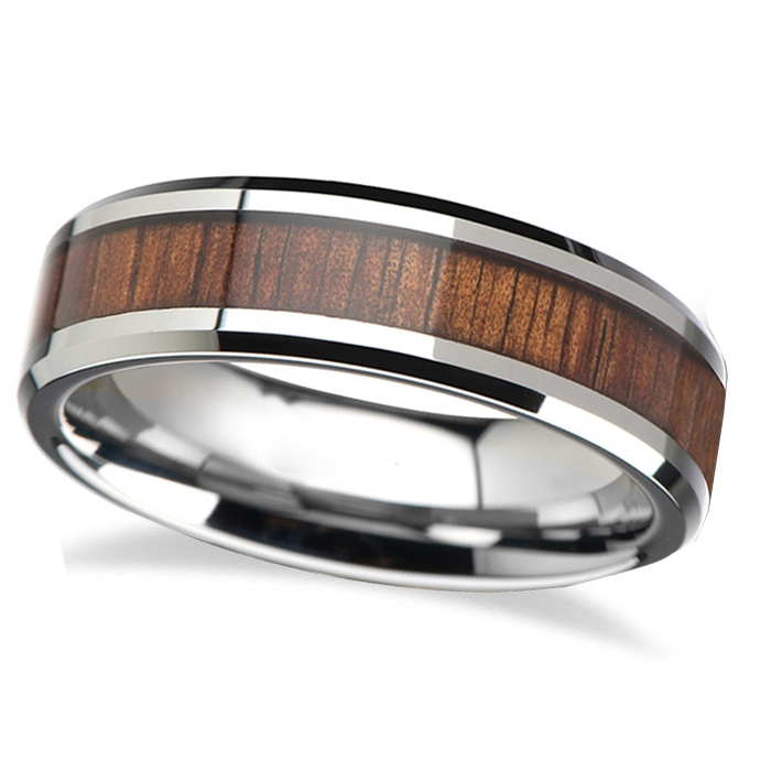 Beveled Inlaid Wood Carbide Tungsten Wedding Band (4mm)