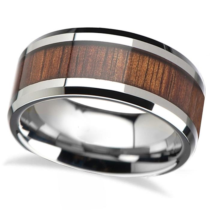Beveled Inlaid Wood Carbide Tungsten Wedding Band (8mm)