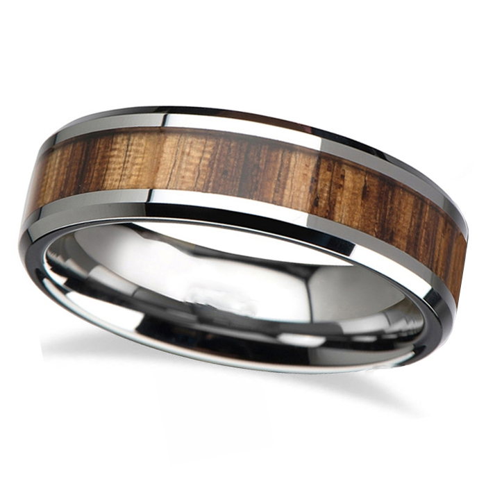 Beveled Edges and Real Zebra Wood Inlay Tungsten Wedding Band (4mm)