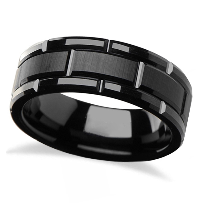 Brushed Center and Beveled Carbide Black Tungsten Wedding Band (8mm)