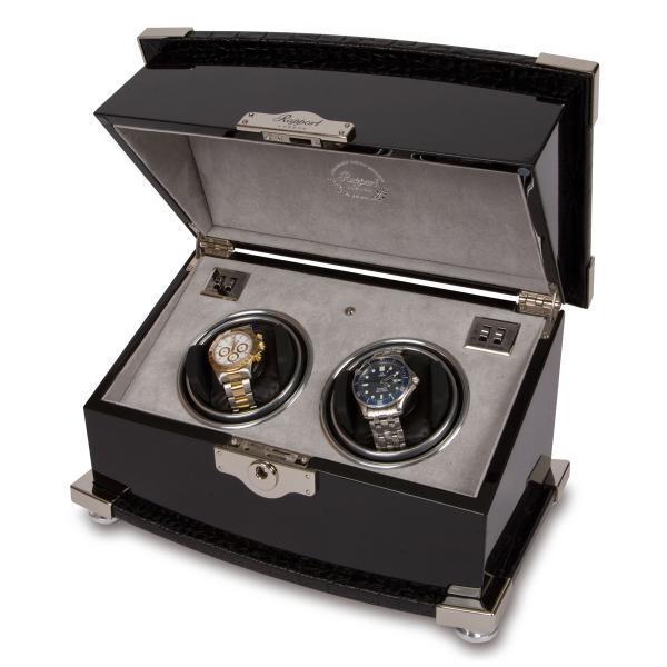 Rapport London Serpentine Dual Watch Winder in Ebony Wood