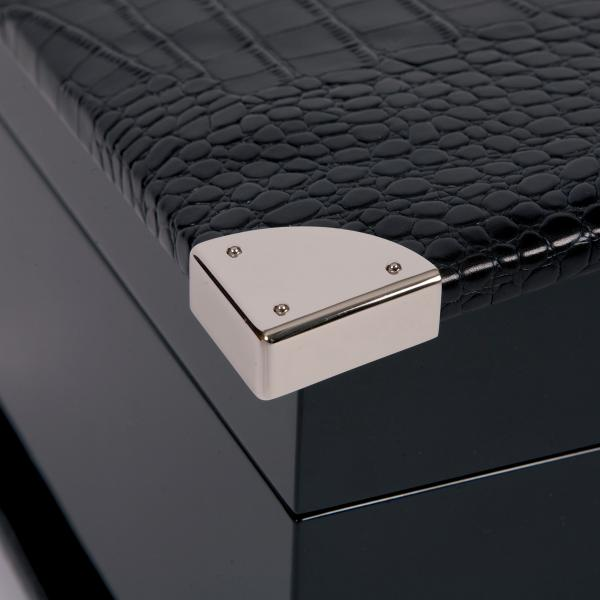 Rapport London Black Wood & Crocodile Leather Quad Watch Winder