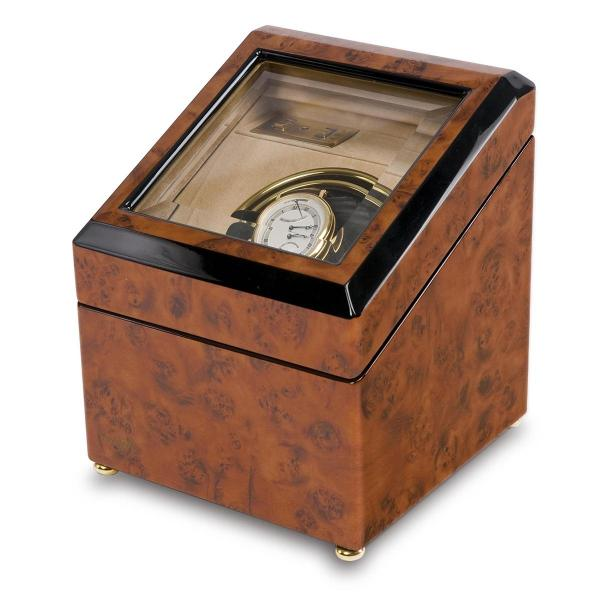 Rapport London Walnut Burr Wood Single Watch Winder w/ Glass Top