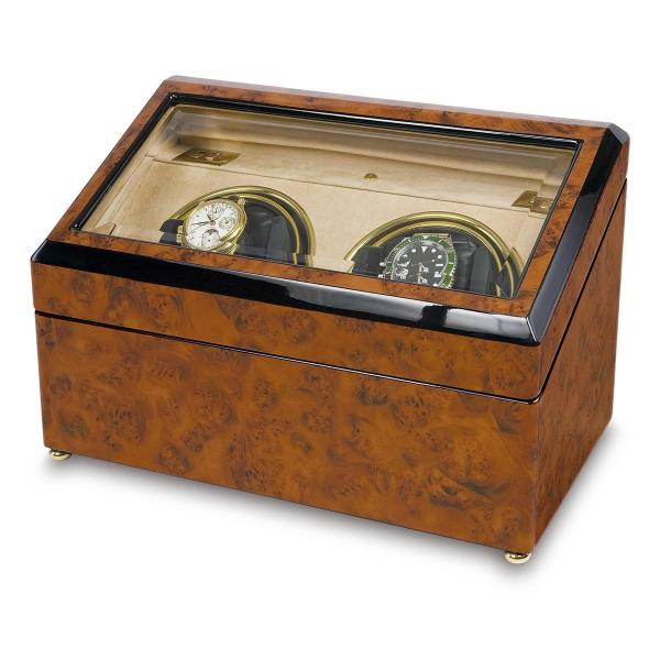 Rapport London Walnut Burr Wood Dual Watch Winder w/ Glass Lid