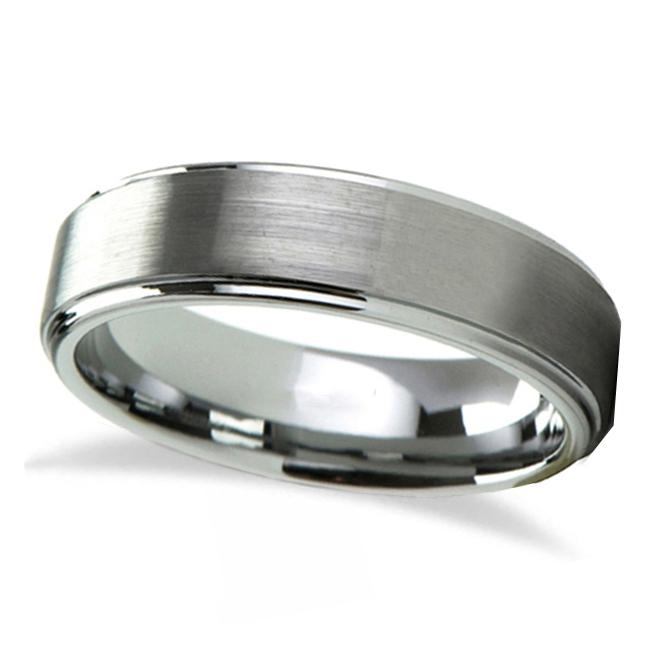 Raised Center Brushed Finish Tungsten Wedding Band (4mm)