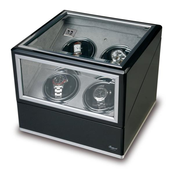 Rapport London Quad Watch Winder, Aluminum & Ebony w/ Glass Panels