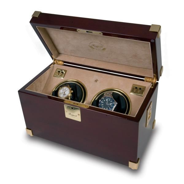 Rapport London Captain's Dual Watch Winder in Polished Mahogany Wood