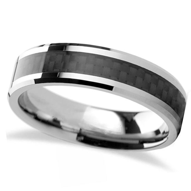 Black Carbon Fiber Inlay Carbide Tungsten Wedding (6mm)