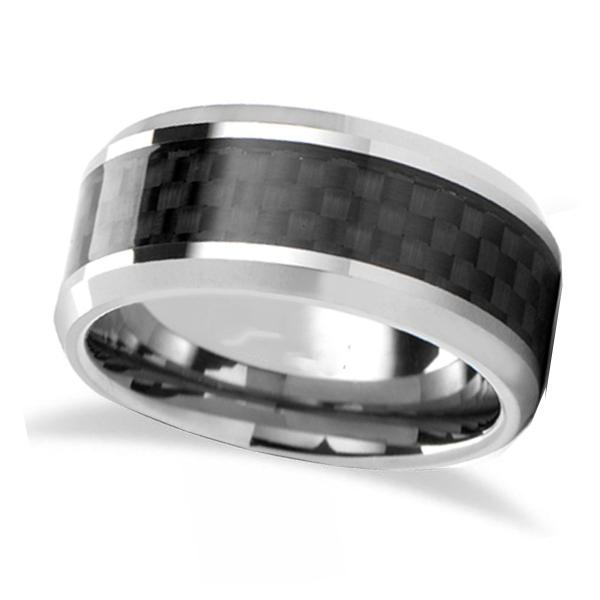 Black Carbon Fiber Inlay Carbide Tungsten Wedding (7mm)