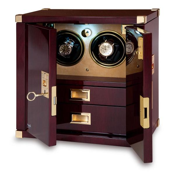 Rapport London Mariner's Chest & Double Watch Winder in Mahogany Wood