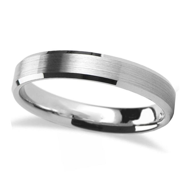 Brushed Center Beveled Tungsten Wedding Band (4mm)