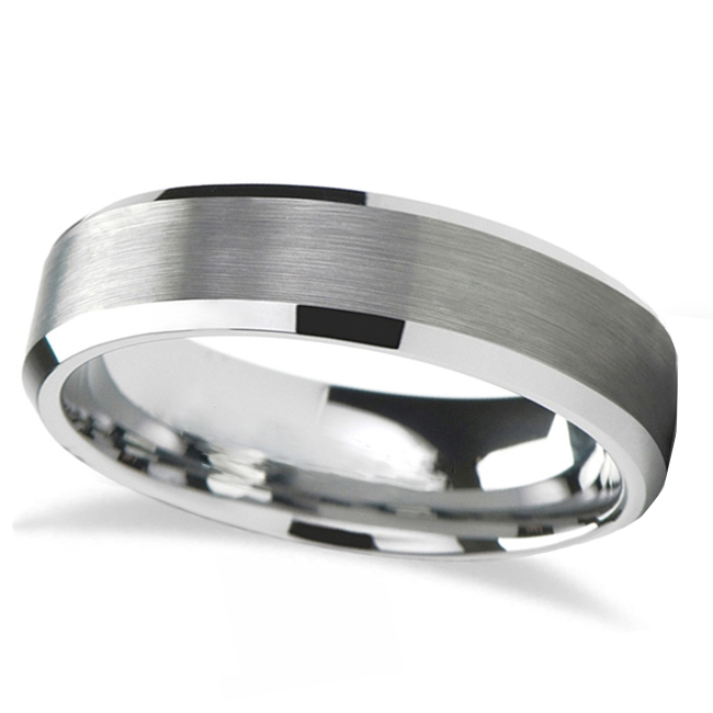 Brushed Center Beveled Tungsten Wedding Band (7mm)