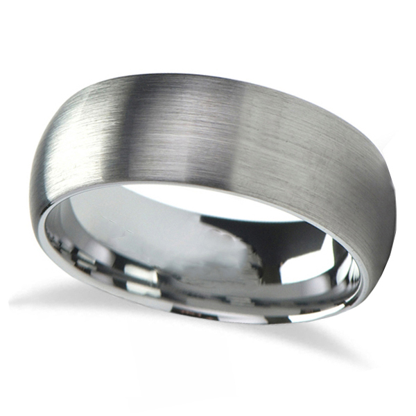 Brushed Finish Rounded Carbide Tungsten Wedding Band (7mm)
