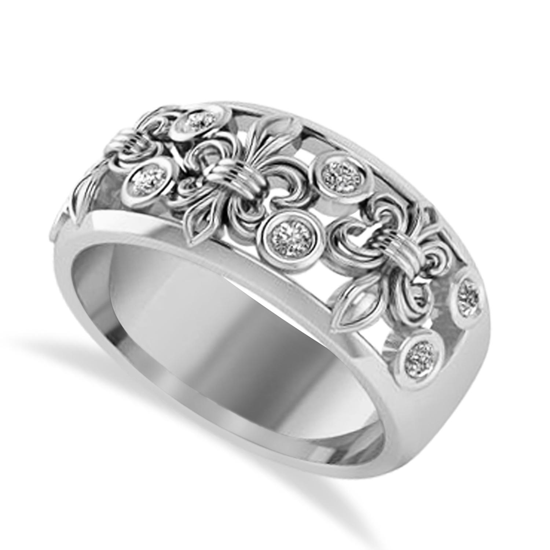 Diamond Fleur De Lis Bezel Ring 14k White Gold (0.16ct)