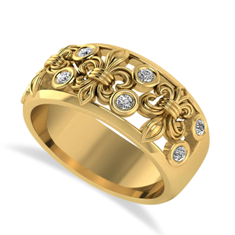 Diamond Fleur De Lis Bezel Ring 14k Yellow Gold (0.16ct)