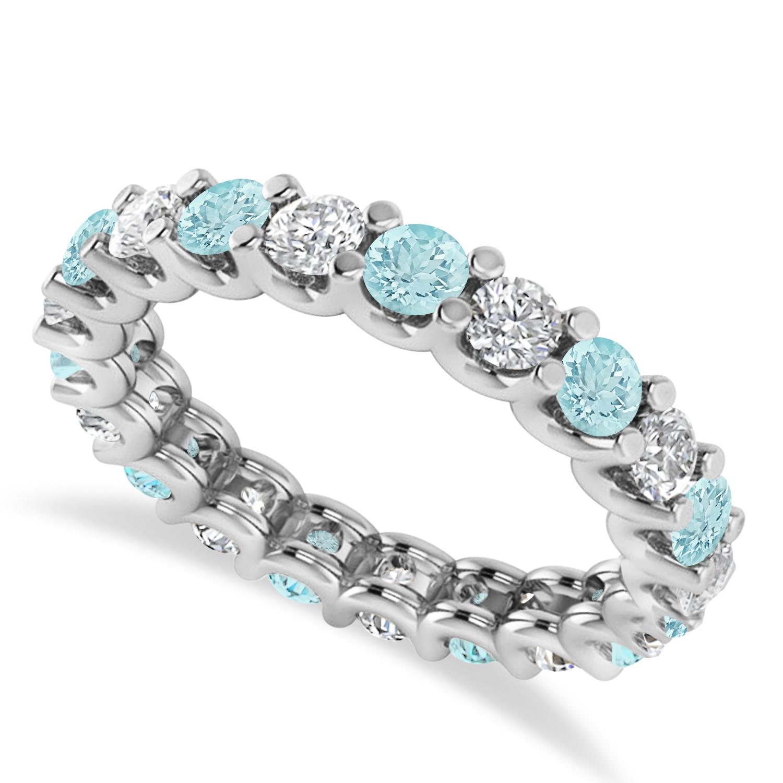 Diamond & Aquamarine Eternity Wedding Band 14k White Gold (2.10ct)