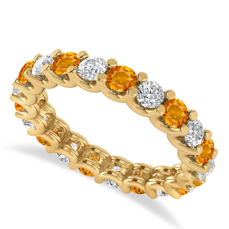 Diamond & Citrine Eternity Wedding Band 14k Yellow Gold (2.10ct)
