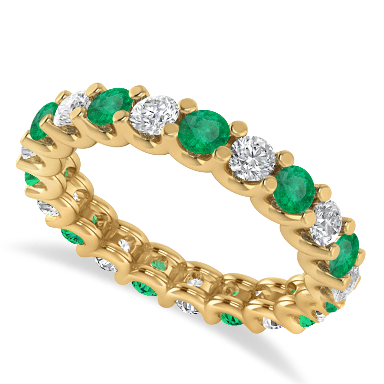 Diamond & Emerald Eternity Wedding Band 14k Yellow Gold (2.10ct)