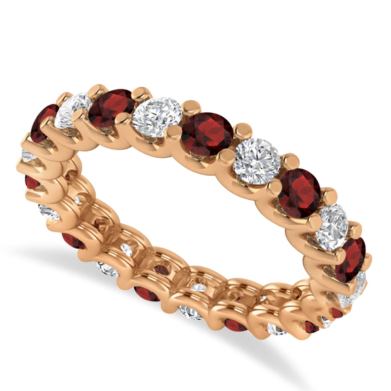 Diamond & Garnet Eternity Wedding Band 14k Rose Gold (2.10ct)