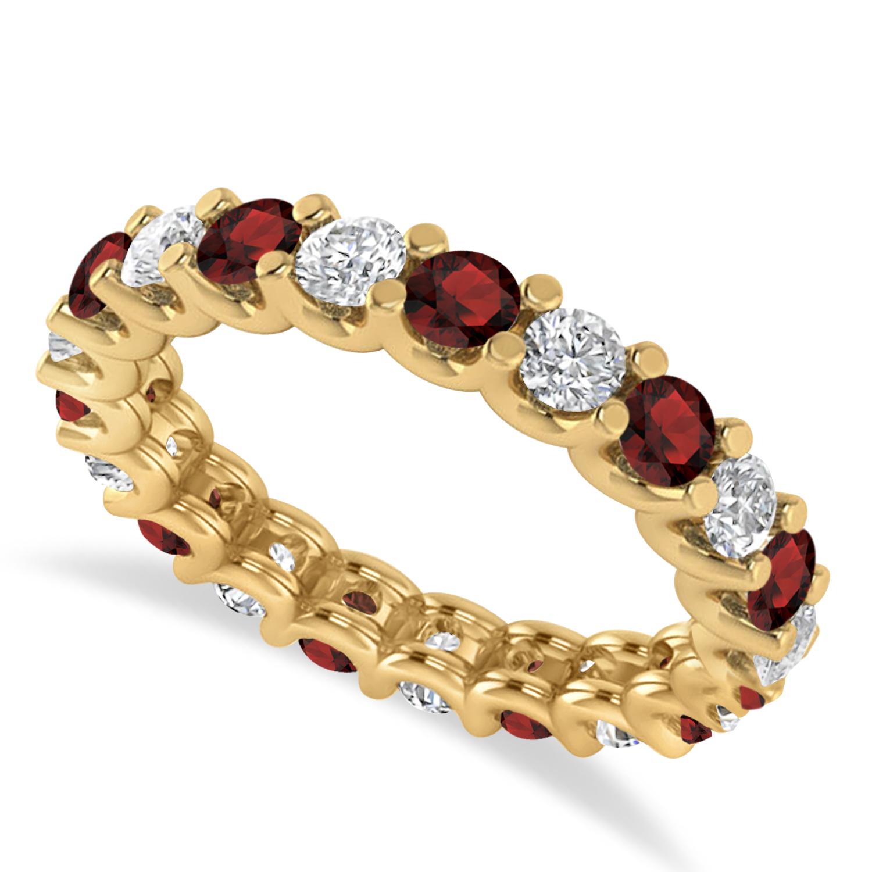 Diamond & Garnet Eternity Wedding Band 14k Yellow Gold (2.10ct)