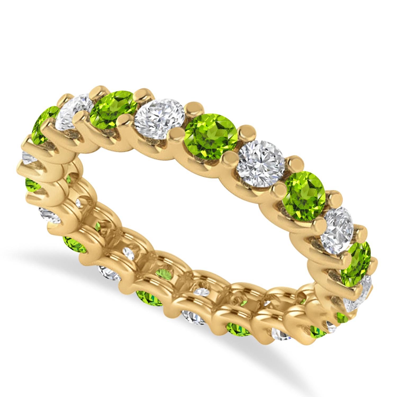 Diamond & Peridot Eternity Wedding Band 14k Yellow Gold (2.10ct)
