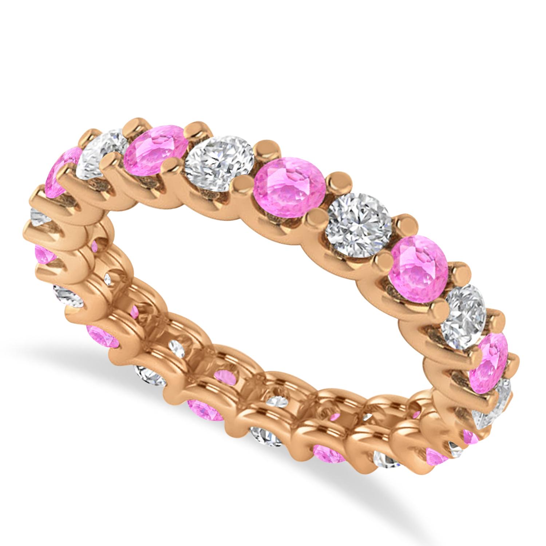 Diamond & Pink Sapphire Eternity Wedding Band 14k Rose Gold (2.10ct)