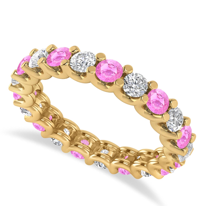 Diamond & Pink Sapphire Eternity Wedding Band 14k Yellow Gold (2.10ct)