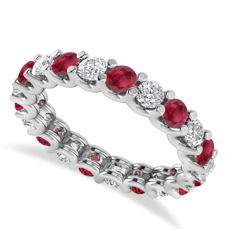 Diamond & Ruby Eternity Wedding Band 14k White Gold (2.10ct)