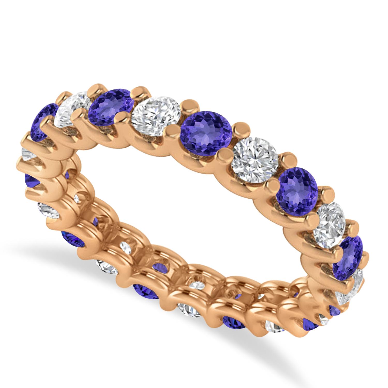 Diamond & Tanzanite Eternity Wedding Band 14k Rose Gold (2.10ct)