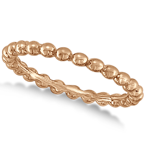 Women's Plain Metal Solid Beaded Stackable Ring 14k Rose Gold