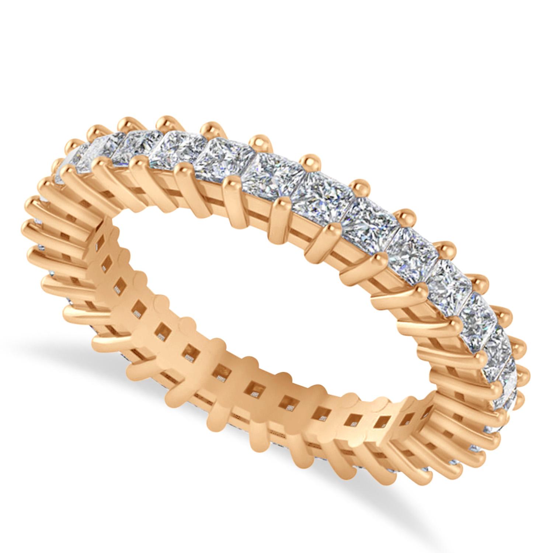 Princess Cut Diamond Eternity Wedding Band 14k Rose Gold (1.86ct)