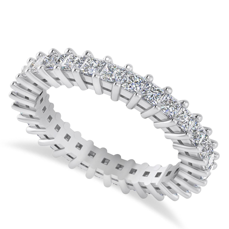 Princess Cut Diamond Eternity Wedding Band 14k White Gold (1.86ct)