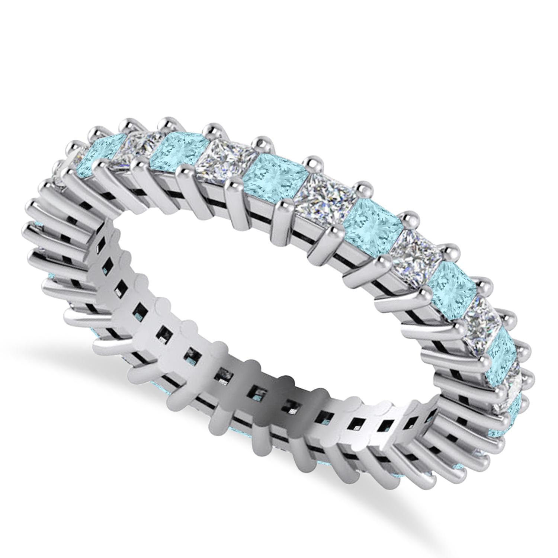 Princess Diamond & Aquamarine Wedding Band 14k White Gold (1.86ct)