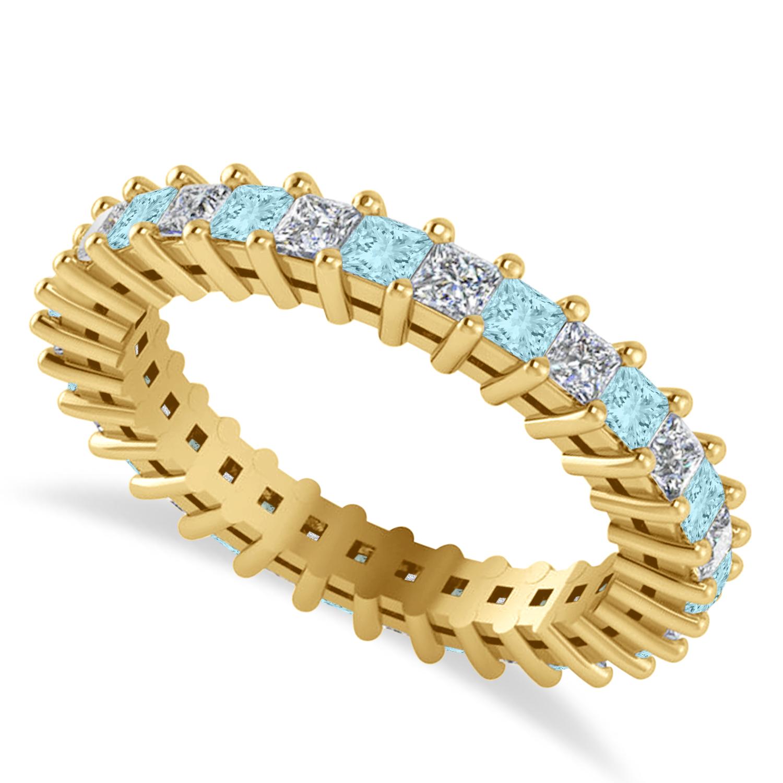 Princess Diamond & Aquamarine Wedding Band 14k Yellow Gold (1.86ct)