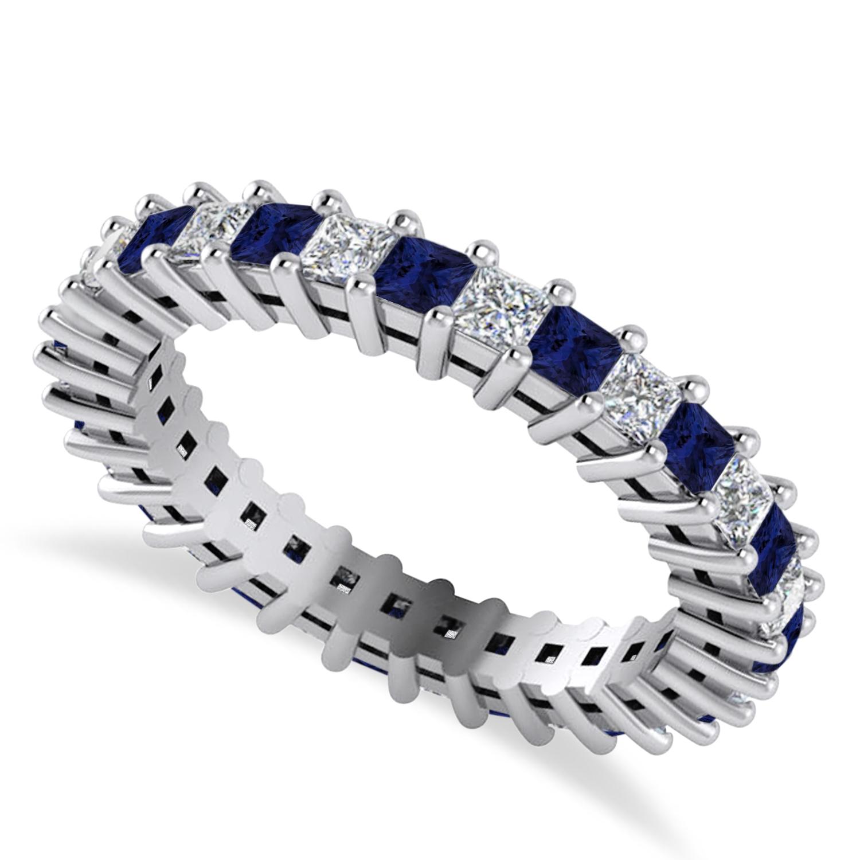 Princess Diamond & Blue Sapphire Wedding Band 14k White Gold (1.86ct)