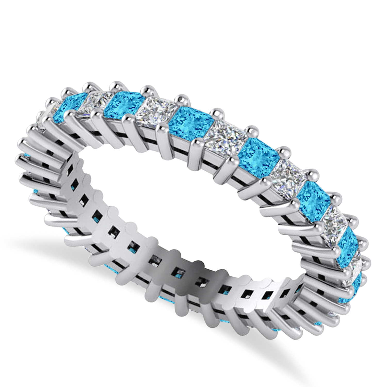 Princess Diamond & Blue Topaz Wedding Band 14k White Gold (1.86ct)