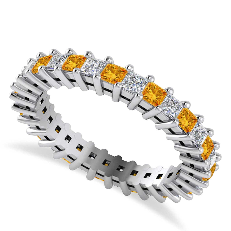 Princess Diamond & Citrine Wedding Band 14k White Gold (1.86ct)