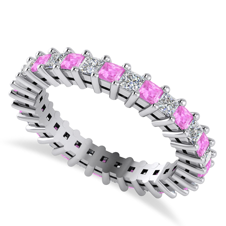 Princess Diamond & Pink Sapphire Wedding Band 14k White Gold (1.86ct)
