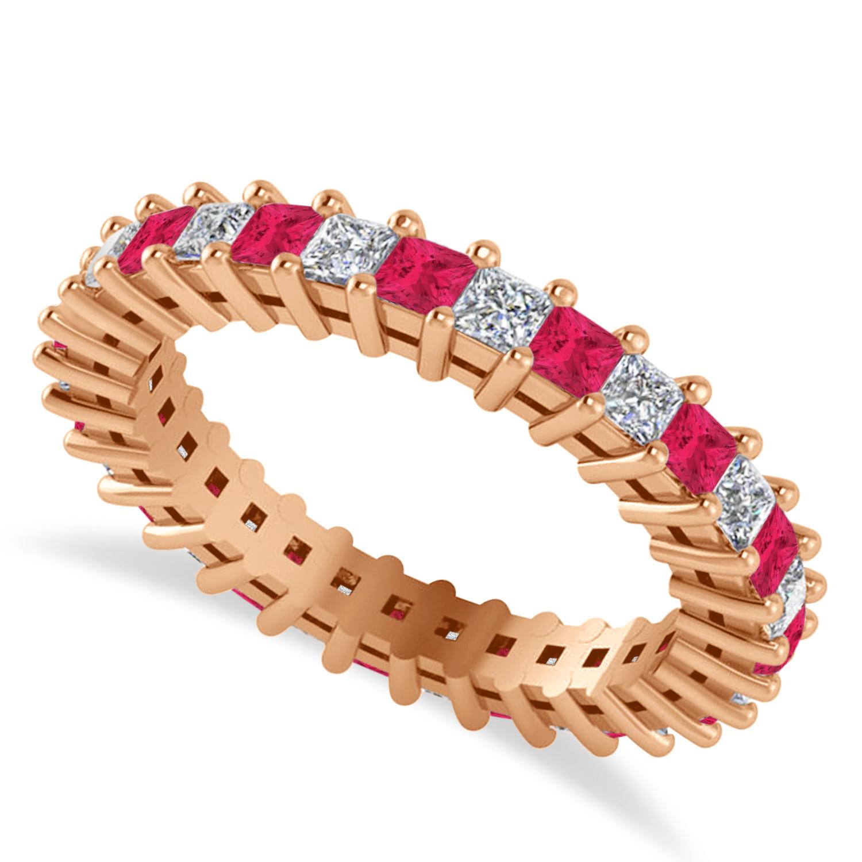 Princess Diamond & Ruby Wedding Band 14k Rose Gold (1.86ct)