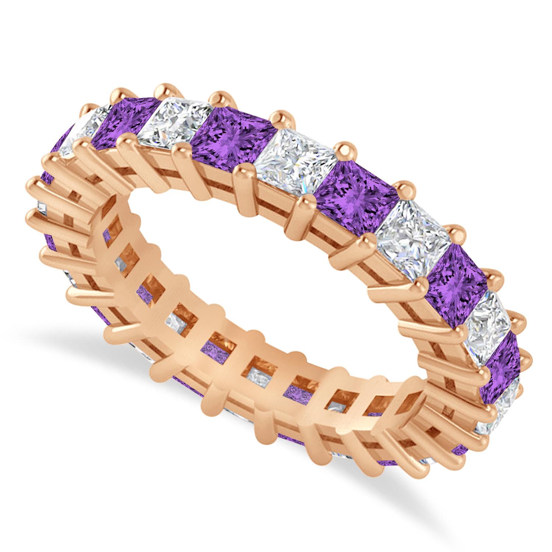 Princess Diamond & Amethyst Wedding Band 14k Rose Gold (3.12ct)