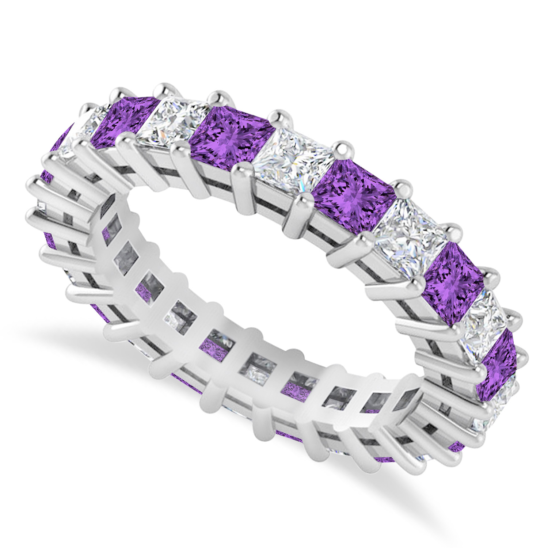 Princess Diamond & Amethyst Wedding Band 14k White Gold (3.12ct)